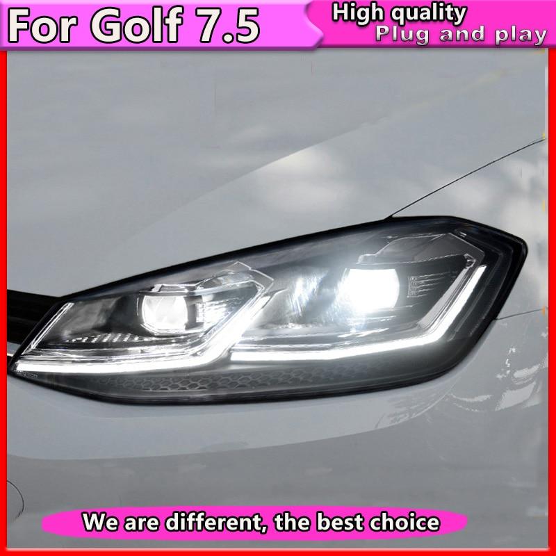 Car Styling For  VW Golf 7.5 Headlights Golf7.5 MK7.5 LED Headlight with Dynamic  2018 DRL H7 D2H Hid Bi Xenon Beam