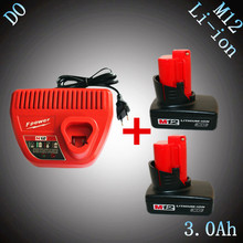 2PCS 12V Rechargeable Lithium Ion 3000mAh Power Tool Battery with Charger Replacement for Milwaukee M12 48-11-2401 48-11-2402