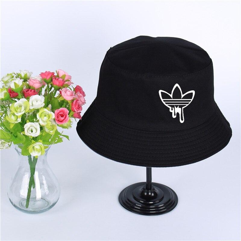 Fashion Summer Sunshade Cap Women Men Panama Bucket Cap Print Of The Design Flat Visor Fisherman Hat Wide-brimmed Hat