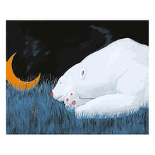 Diy Canvas Painting For Wall Decoration,Painting By Number 40x50cm,Sleeping Bear,Paint Kits Adults