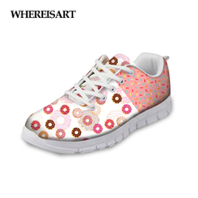 WHEREISART Women Shoes Sweet Donuts Pattern Summer Casual Flats Fashion Pink Female Breathable Mesh Walking Chaussures Femme