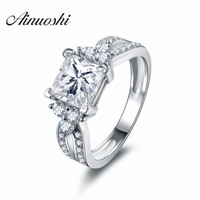 AINUOSHI 1.6 Carat Women Rings Cubic Zirconia Square Cut Engagement Rings 925 Sterling Silver Women Wedding Rings Party Jewelry