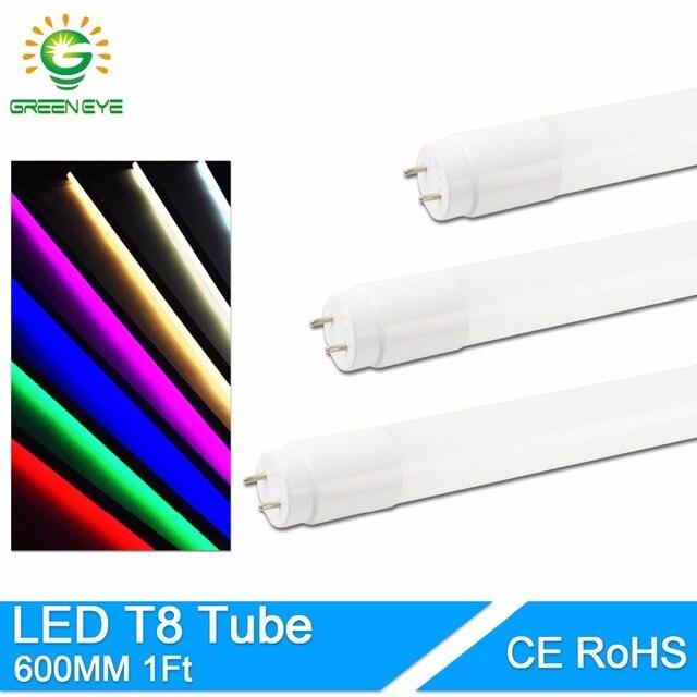 GreenEye Nano Material LED T8 Tube 10w 60cm 2Ft AC220v 110 LED Fluorescent Light Tube Lamp milky cover Warm Cold White SMD2835
