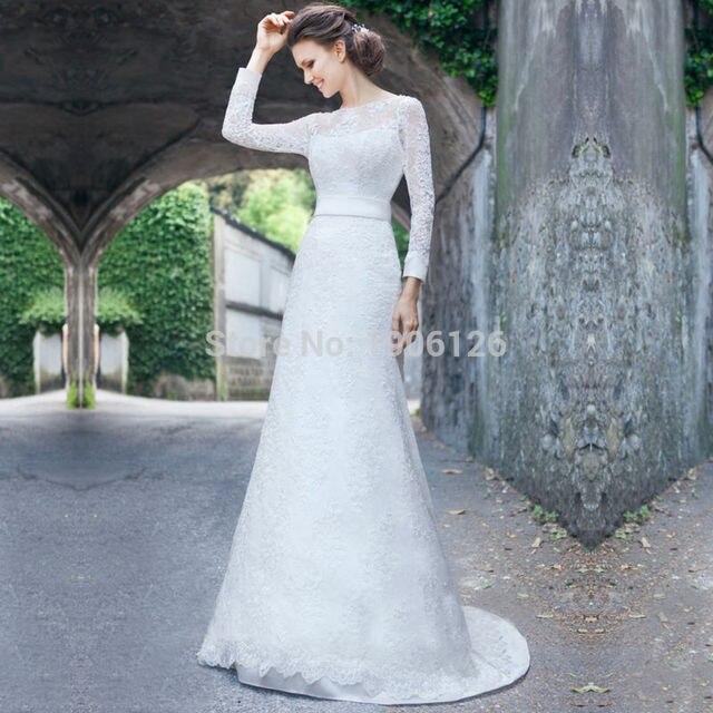 White Classic Lace Wedding Dress Long Sleeve Elegant Bridal Gown ...