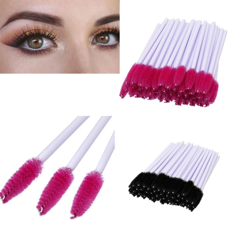 Makeup Disposable Eyelash Brush Mascara Wands Applicator Spoolers Eye Lashes Cosmetic Brushes Makeup Tool 50Pcs durability disposable feather microtome blades