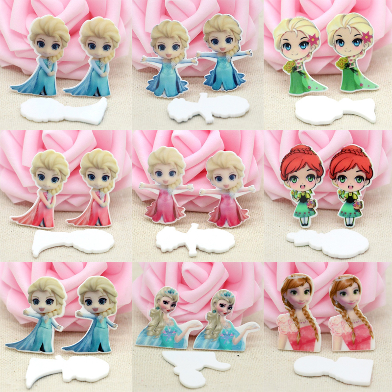 45pcs/Lot Mixed Planar Resin Flatback Cabochon Cartoon Character Flat Back DIY Baby Girl Hairbow Center Handmade Crafts