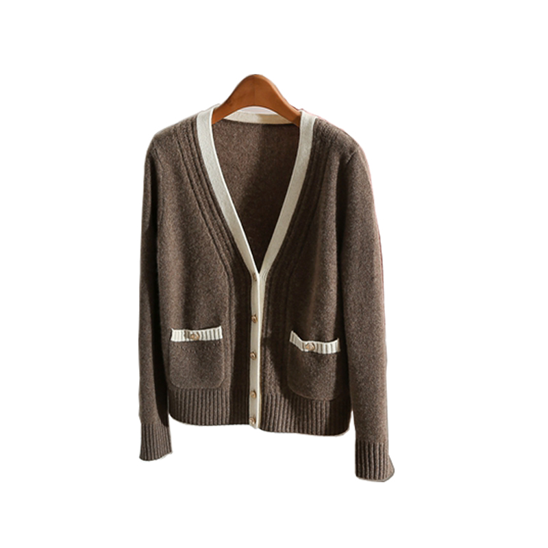 LHZSYY 2018 Spring Autumn New Women 39 s Cashmere Cardigan V Neck Loose spell Color Fashion Jacket Wool Knit Cardigan Shirt Short in Cardigans from Women 39 s Clothing