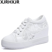 XJRHXJR 8CM Hidden Heels Wedges Lace Up Casual Shoes Woman Fashion White Black Breath Platform Height