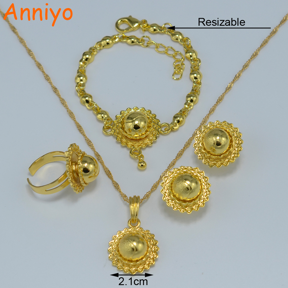 Anniyo Gold Color Ethiopian Baby Jewelry sets Necklace Pendant ...