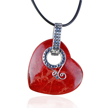 Vintage Heart Coral Pendant Necklace For Lady Ethnic Real  925 Sterling Silver Gemstone Pendant Anniversary Gift Women Jewelry