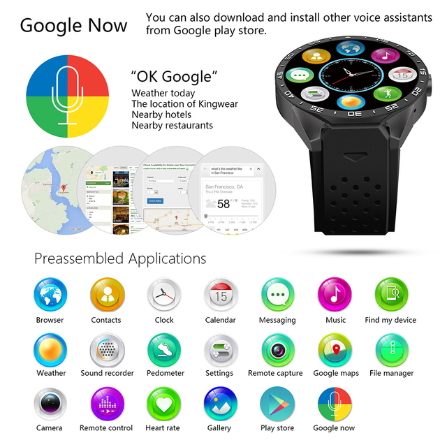 KW88 3G WIFI GPS bluetooth smart watch Android 5.1 MTK6580 CPU 1.39 inch 2.0MP camera smartwatch for iphone huawei phone watch 1