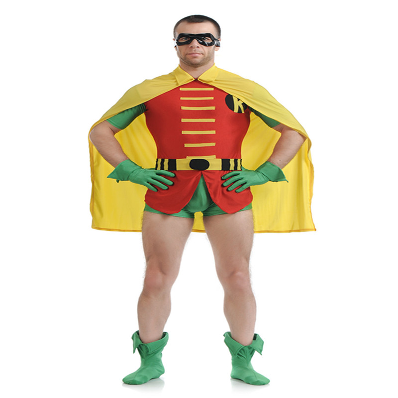 Batman Robin Cosplay Costume Man Bodysuit Spandex Lycra Nylon Zentai Full Body Skin Tight Suit Halloween Party Bodysuit