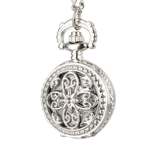 Fashion Vintage Women Quartz Pocket Watch Alloy Hollow Out Flowers Lady Girl Swe