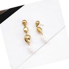 Pearl earrings geometric trend Earrings fashion metal Ms retro jewelry earring accessories Wholesale gift