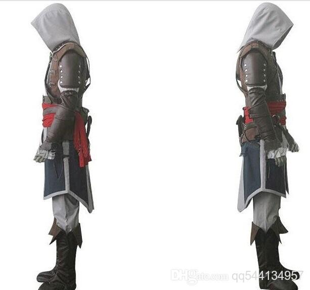 NY Assassin's Free Shipping Creed IV 4 Black Flag Edward Kenway Cosplay Kostym Hela Set Custom Made DHL Shipping