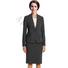 New Women Skirt Suits Charcoal Fashion Elegant Solid Long-Sleeve Knee-Length Slim Formal Female Work Jacket + Skirt Sets XS-4XL