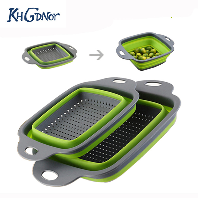 KHGDNOR 2 pçs/set Conjuntos Forma Quadrada Dobrável Cesto do Filtro Coador Dobrável Fruta Vegetal Lavagem Escorredor de Cozinha Cestas