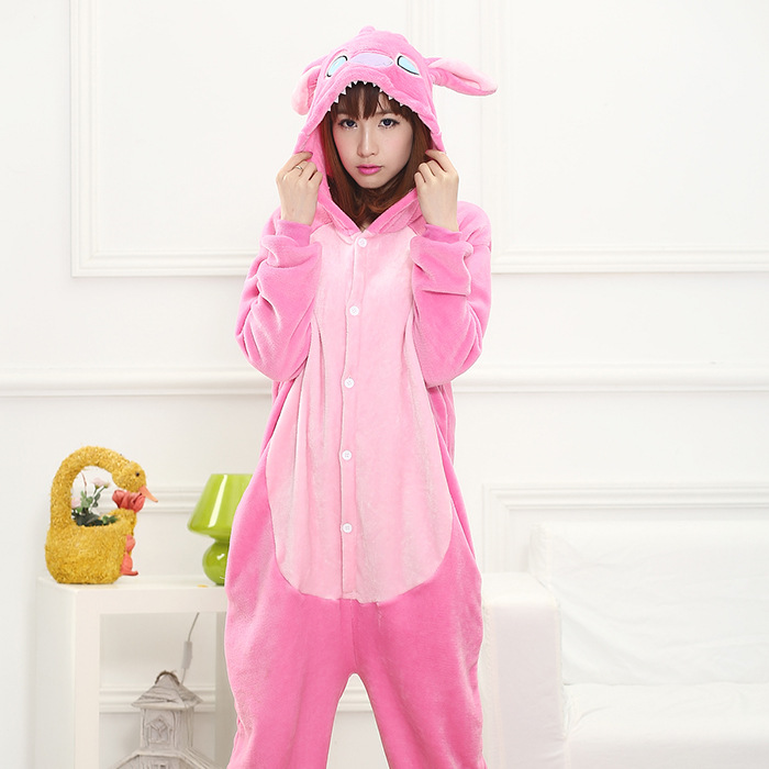 AFEENYRK Winter Flannel Pajama Warm hooded Jumpsuits Women men Homewear Onesies stitch Christmas Party Cartoon Animal Pajamas