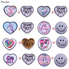 Prajna Cartoon Unicorn Patches Heart Rose Sequined Flower Reversible Change Color Sequin Patch Clothing Accessories Jean