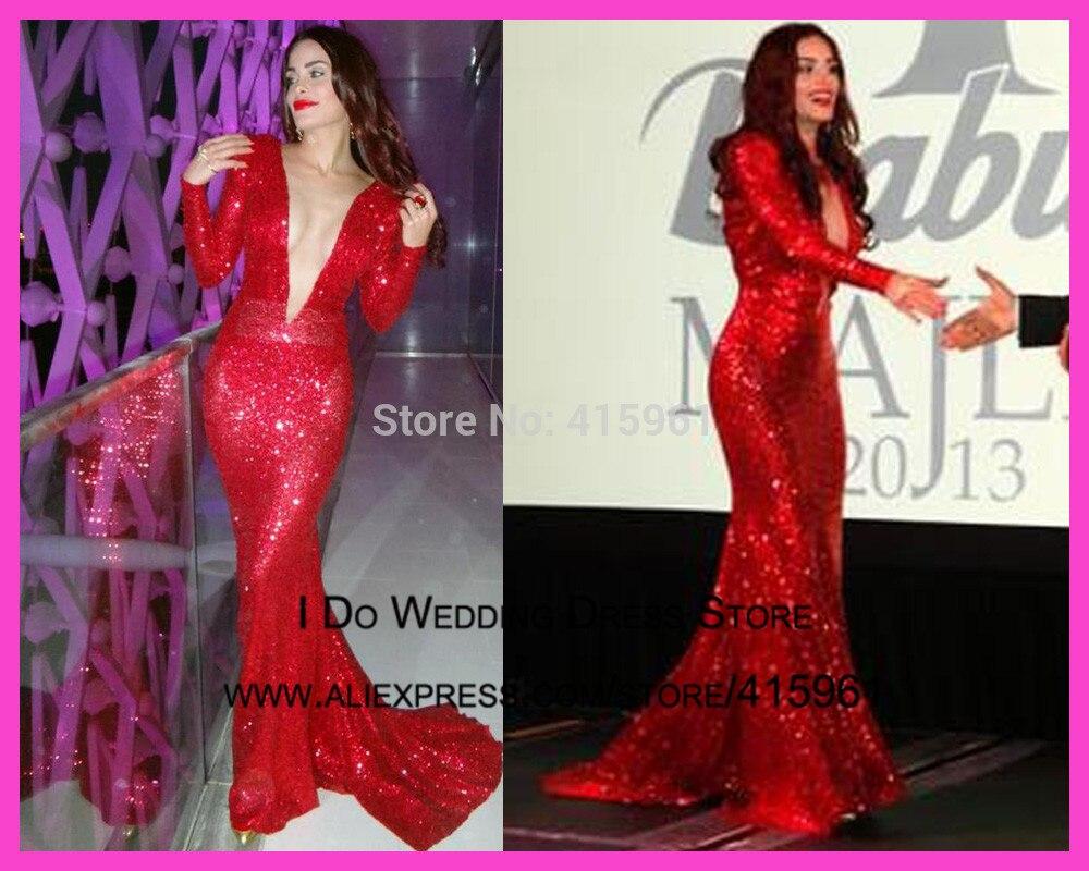 2019 Sexy Red Deep V Neck Long Sleeve Sequin Mermaid Celebrity Prom Dress Gown Vestdidos De Fiesta E5901