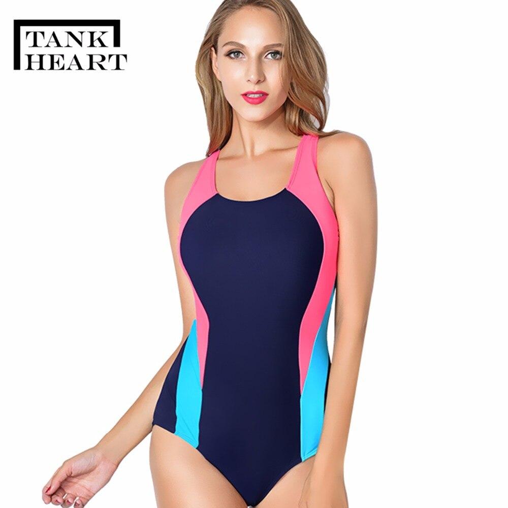 Tank Heart Blue Plus size Swimsuit One Piece Sports Swimwear Women Professional One-Piece Suits Trikini Bathing Suit Women S-XXL