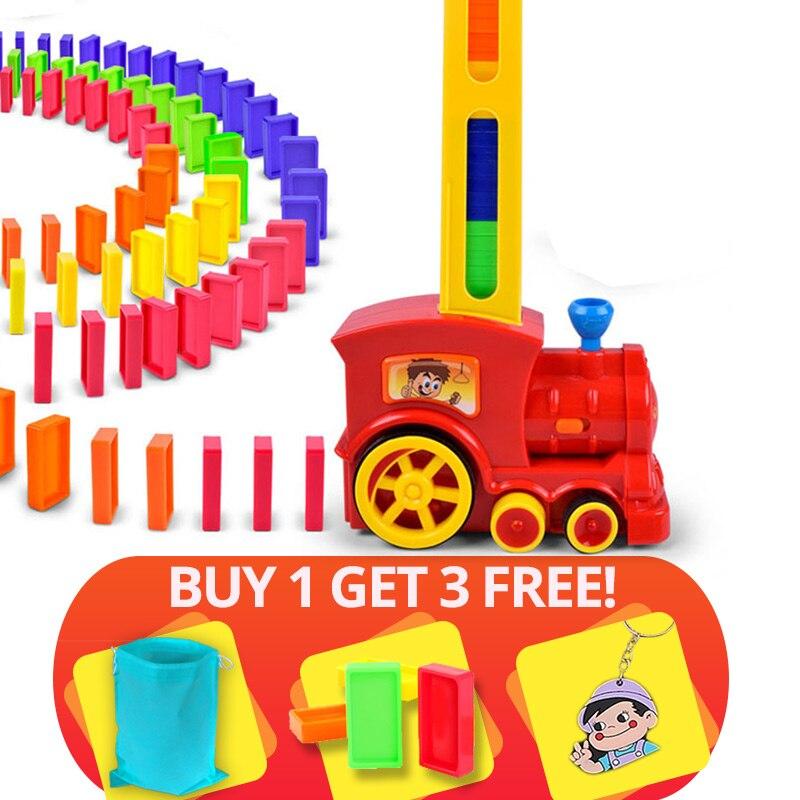 Heißer Verkauf 60 stücke Domino Blöcke Zug Kit Motorisierte Set Up die Domino mit Laden Patrone spielzeug geburtstag geschenk für kinder kid