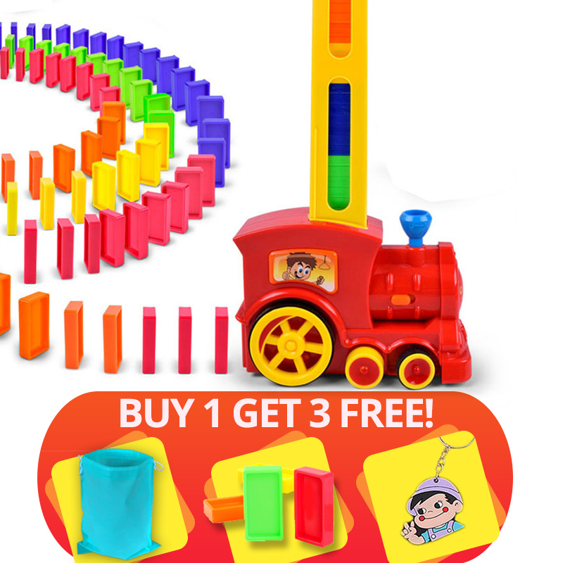 Hot Sale 60pcs Domino Blocks Train Kit Motorized Set Up the Domino with Loading Cartridge toys birthday gift for children kid