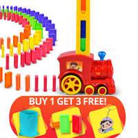 Vendita calda 60pcs Domino Blocchi Train Kit Motorizzato Impostare il Domino con Carico Cartuccia di giocattoli regalo di compleanno per del capretto dei bambini