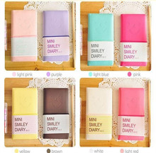 1pcs/lot Kawaii Smiley Diary Sweet Candy Solid Color Leather Mini Notebook Kids Gifts