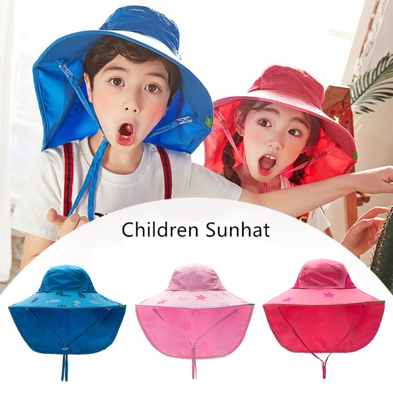 08c74a2d9 US $9.06 51% OFF|Kocotree 1 18 years old Boy Girl Sun Hat Outdoor Sun Beach  Hats Kids Children Neck Ear Cover Anti UV Protection Swimming Cap-in Hats  ...