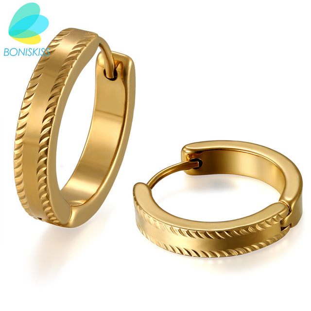 Boniskiss Simple Small Gold Hoop Earrings Fashion Stainless Steel Jewelry For Men Women Birthday S Gift Boucle