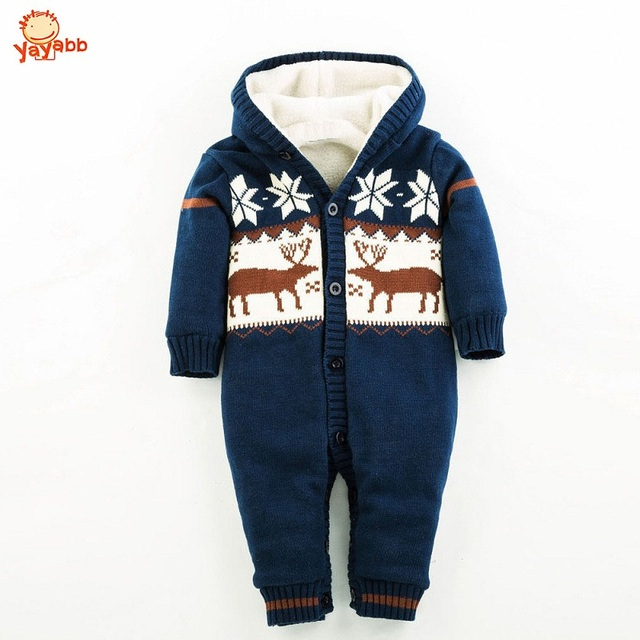 2016 New Christmas Deer Baby Boy Winter Clothes Thickening Baby Rompers Cartoon Baby Girl Winter Coverall Hooded Baby Clothing