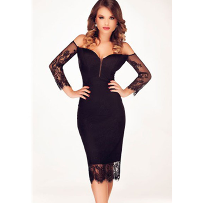 2016 Women Dress shoulder Long Sleeve Bodycon Black Sexy Club Bandage Knee-Length Party Dresses vestidos - KING FASHION DRESS CO.,LTD store
