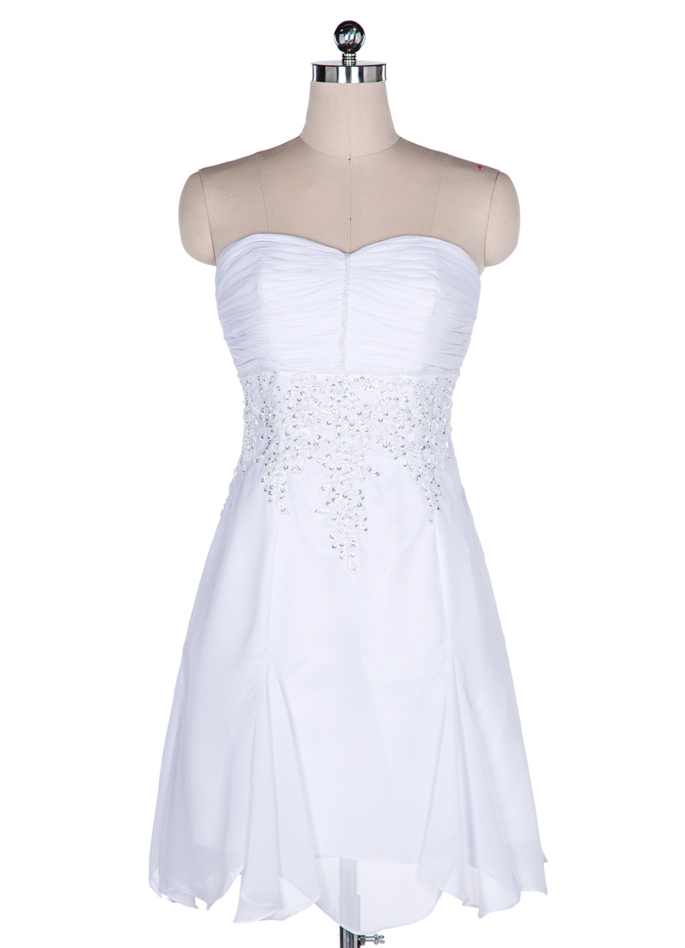 Custom made sweetheart short white bridesmaid dress knee for Short white summer wedding dresses