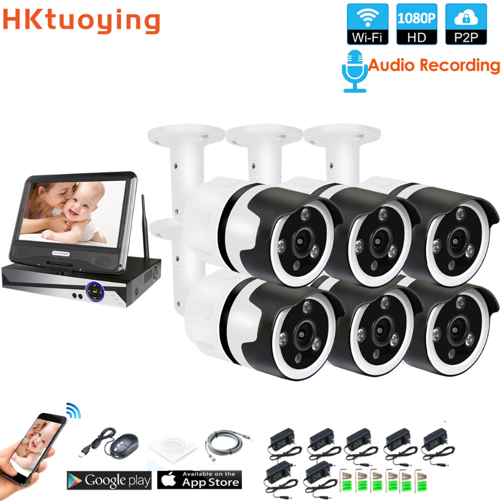 6CH audio talK HD Wireless LCDNVR Kit P2P 1080P Indoor Outdoor IR Night Vision Security 2.0MP IP Camera WIFI CCTV System