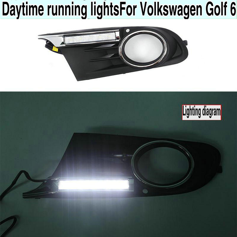 1 pair For Volkswagen Golf 6 Golf6 MK6 09-13 Daytime Running Light LED Indicator Light DRL Bumper Front fog lamp1 pair For Volkswagen Golf 6 Golf6 MK6 09-13 Daytime Running Light LED Indicator Light DRL Bumper Front fog lamp