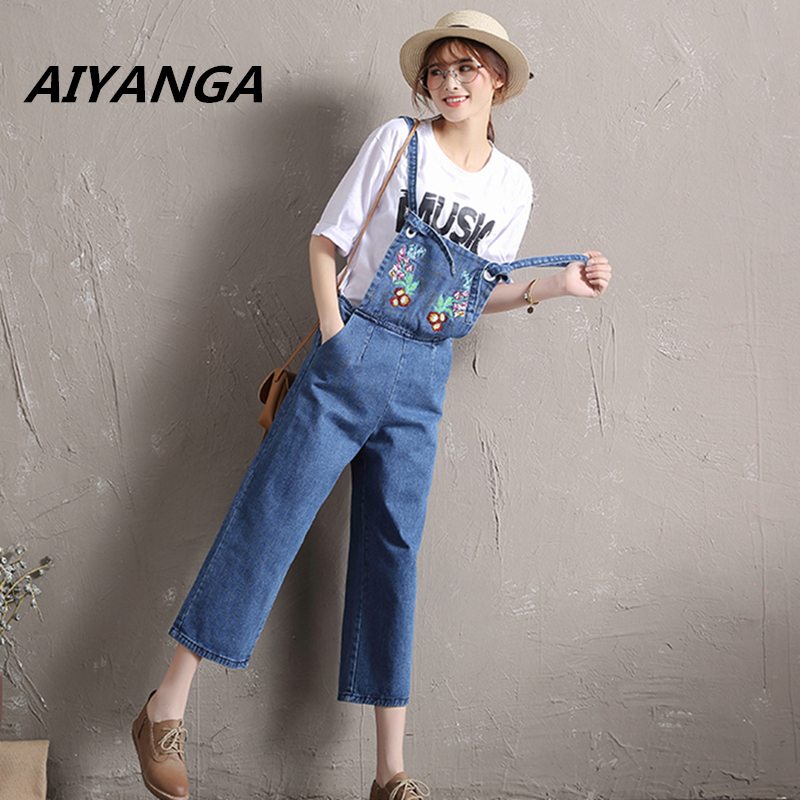 New Overalls jeans women Ankle-Length pants Embroidery Flowers high waist lace up wide leg denim strap trousers jumpsuit 2017 spring new women sweet floral embroidery pastoralism denim jeans pockets ankle length pants ladies casual trouse top118