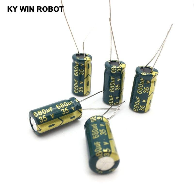 Image 4 - 10 pcs Aluminum electrolytic capacitor 680 uF 35 V 10 * 20 mm frekuensi tinggi Radial Electrolytic kapasitor-in Capacitors from Electronic Components & Supplies