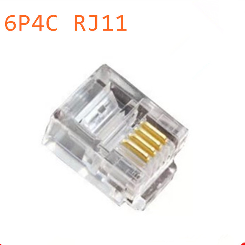50pcs Durable 4 Core Telephone Network Connectors RJ11 6P4C Modular Plugs