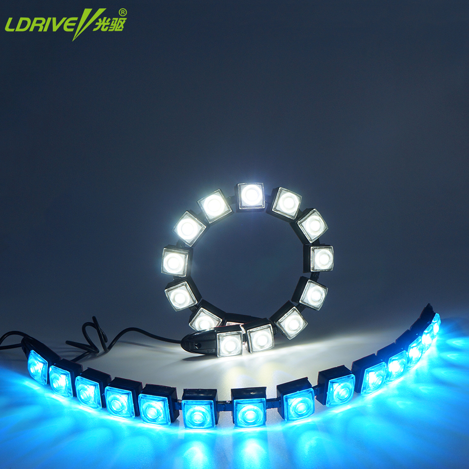 Car COB LED DRL Driving Fog Light Flexible Daytime Running Light with Turn Signal For Toyota Nissan Hyundai Kia Mazda VW Honda wljh 2x car led 7 5w 12v 24v cob chip 881 h27 led fog light daytime running lamp drl fog light bulb lamp for kia sorento hyundai