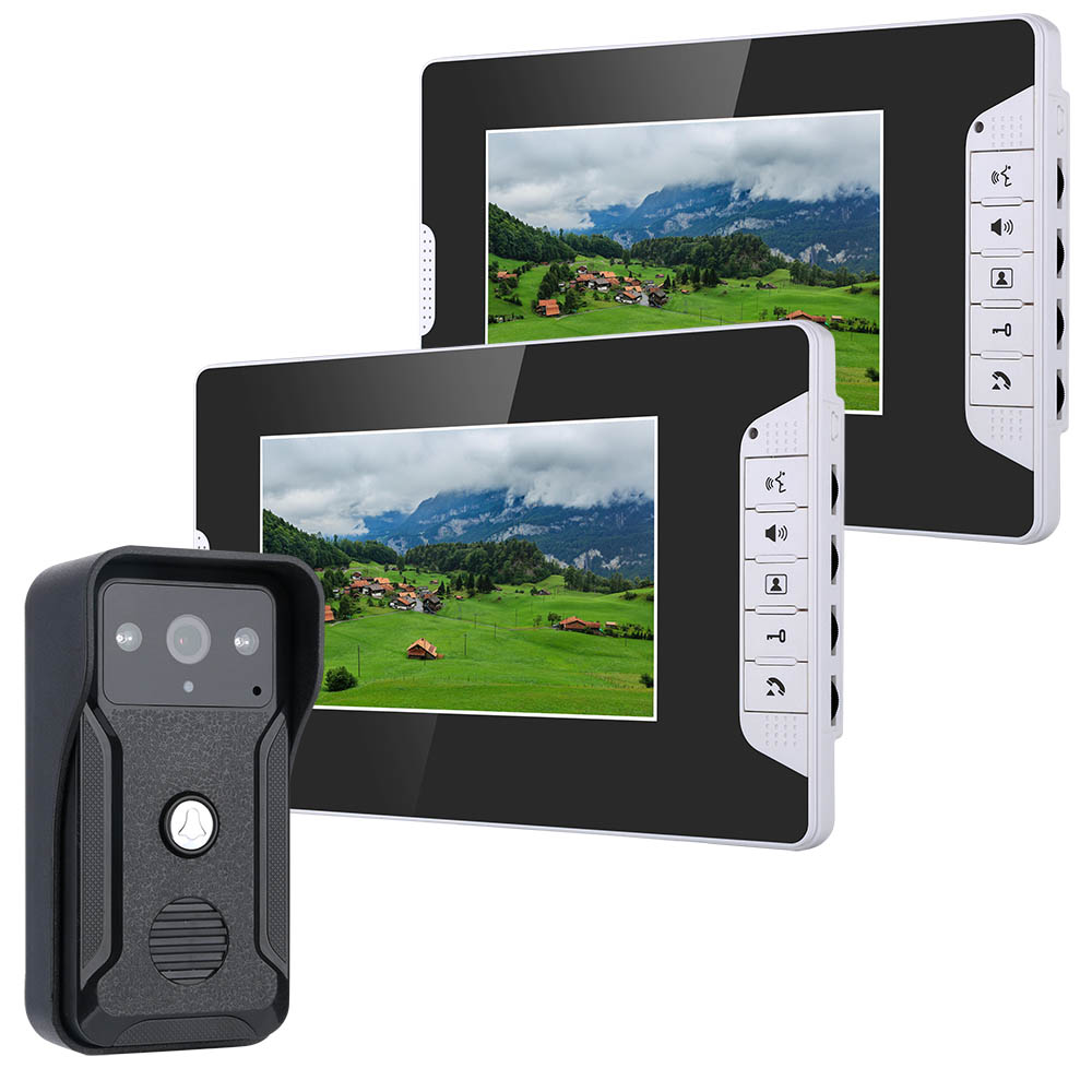 SmartYIBA Home Security Video Intercom 7''Inch Monitor Wired Video Door Phone Doorbell Speakephone Intercom Camera Entry System