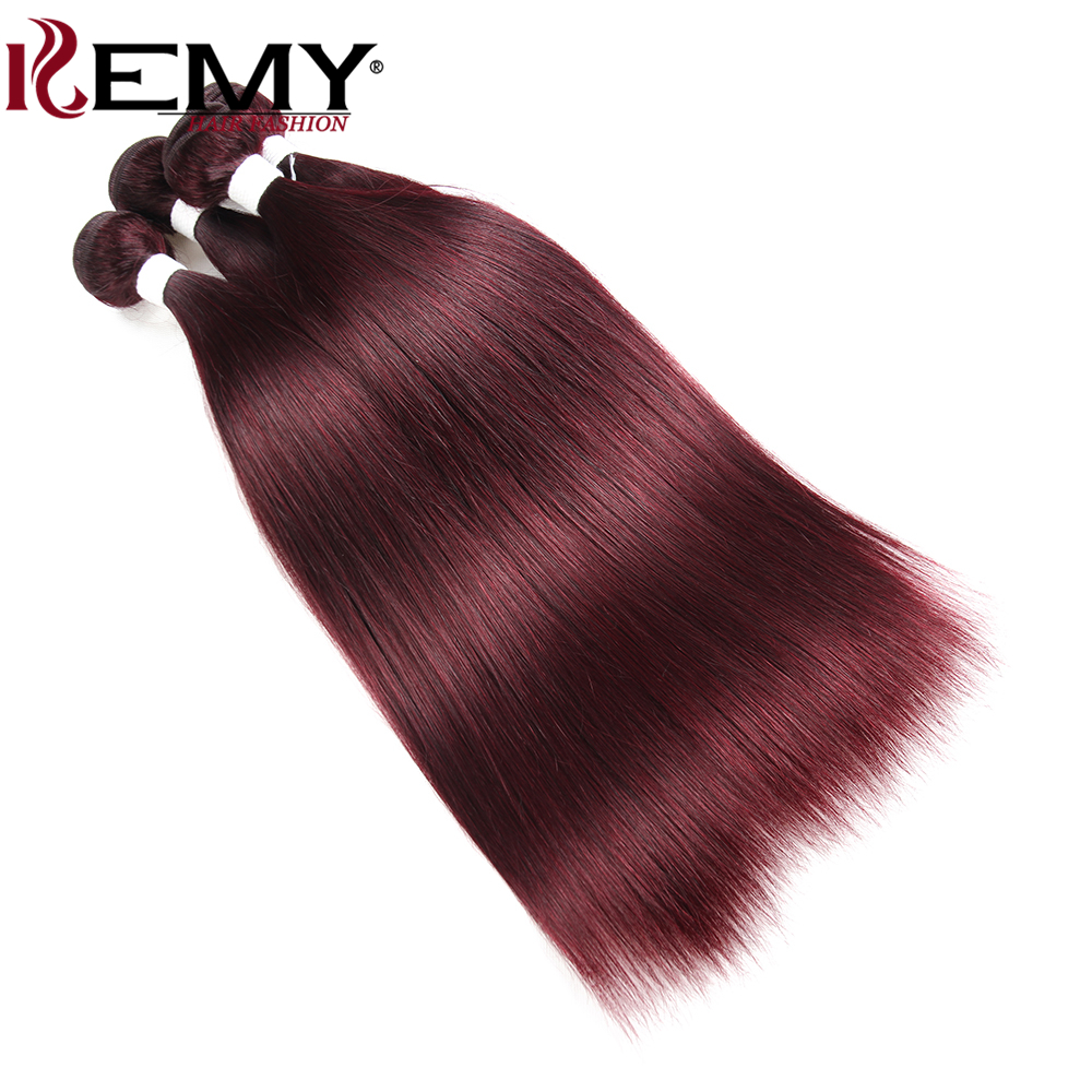Image 3 - 99J/Burgundy Brazilian Straight Human Hair Weaves Bundle KEMY HAIR 8 to 26 Inch Hair Weaving 1 PC Non Remy Hair Extensions-in Hair Weaves from Hair Extensions & Wigs
