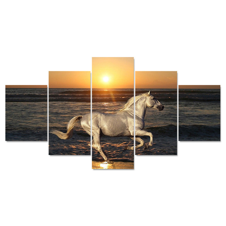 Canvas Painting Wall Art Modular Poster HD Printed Modern 5 Panel Sunset Horse Seaview Living Room Home Decor Pictures Frame