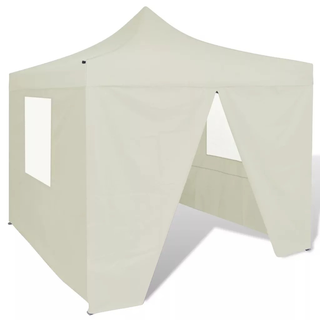 VidaXL 3 X 3 M Cream Folding Tent With Four Walls For Outdoor Events Outdoor Waterproof Large Family Tents Weatherproof Tent