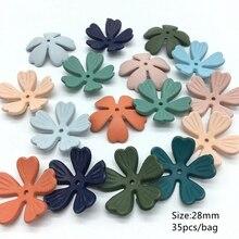 Meideheng Acrylic Autumn and winter Dull Polish heart flowers Beads Fit Jewelry Handmade DIY Craft Accessories 28mm 35PCS/bag