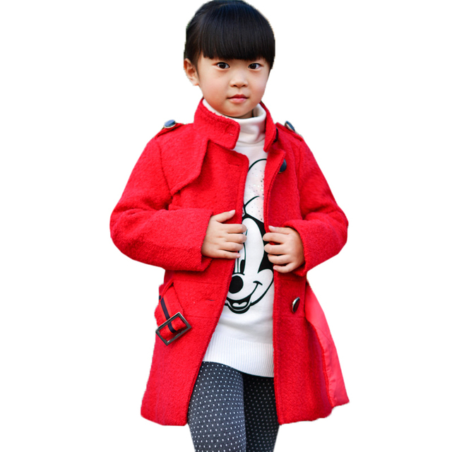 Girls Coats Wool Fashion Thick Warm Girl Winter Wool Blend Coat With Belt Kids Clothes Winter Children Clothing AGE  4-8Y