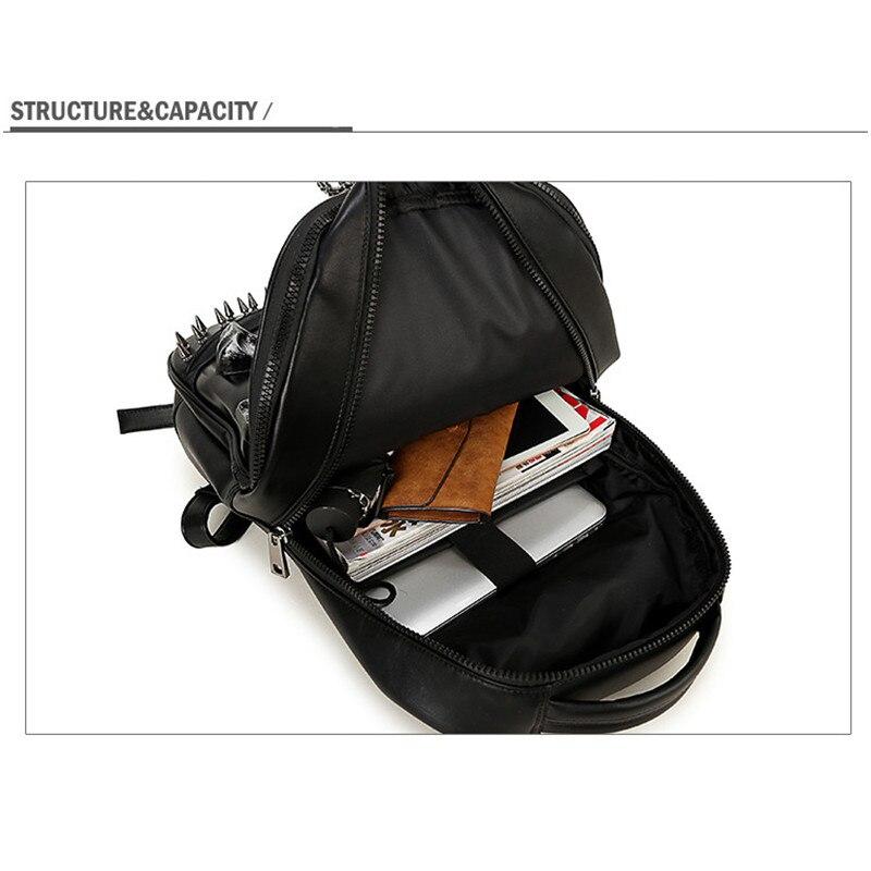 Мужской рюкзак большой емкости женский 15 ноутбук сумка для компьютера заклепки индивидуальные, трендовые головы призрака забавные черные/Золотые сумки с черепом - 6