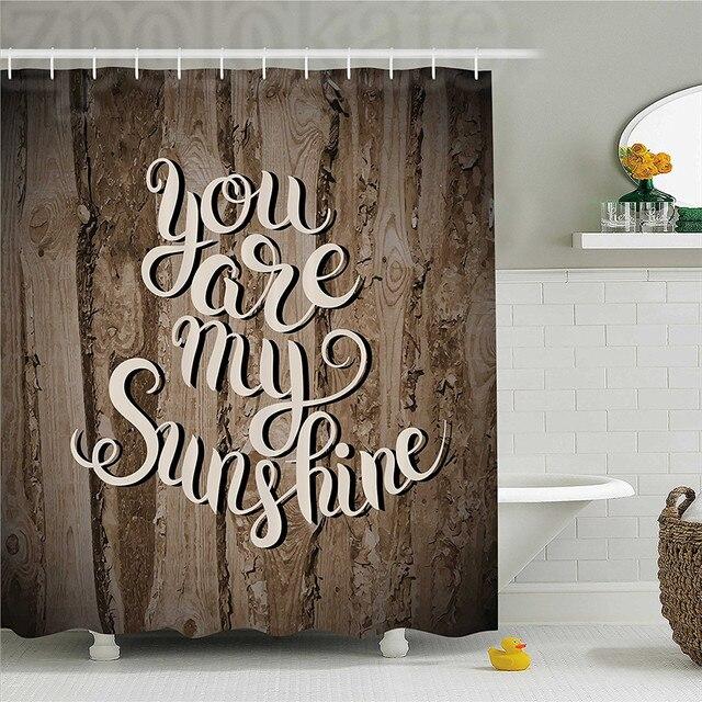 Quotes Decor Shower Curtain Romantic Positive Phrase On Rustic Oak Relationship Life Marriage Enjoy Concept Bathroom Set W