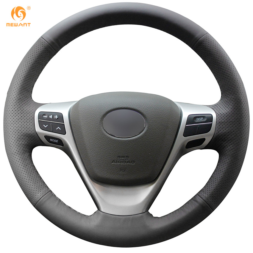 MEWANT Black Genuine Leather Car Steering Wheel Cover for Toyota Verso EZ Avensis 4pcs blade side windows deflectors door sun visor shield for toyota verso ez 2011 2014
