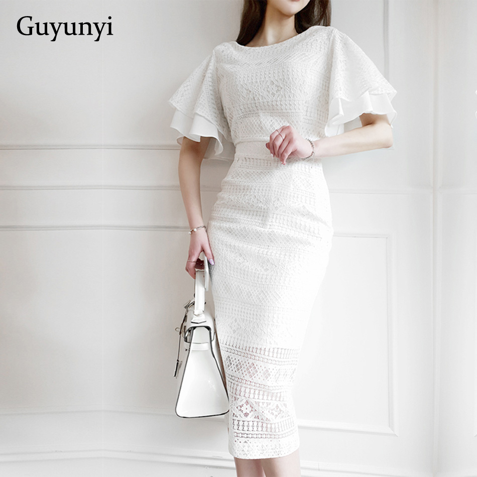 Summer Elegant Party Dress 2019 White Small Sexy Lace Dress High Waist Butterfly Sleeve Mid-Calf Length Women Office Lady Dress